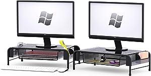 SimpleHouseware 2PK Metal Desk Monitor Stand Riser with Organizer Drawer