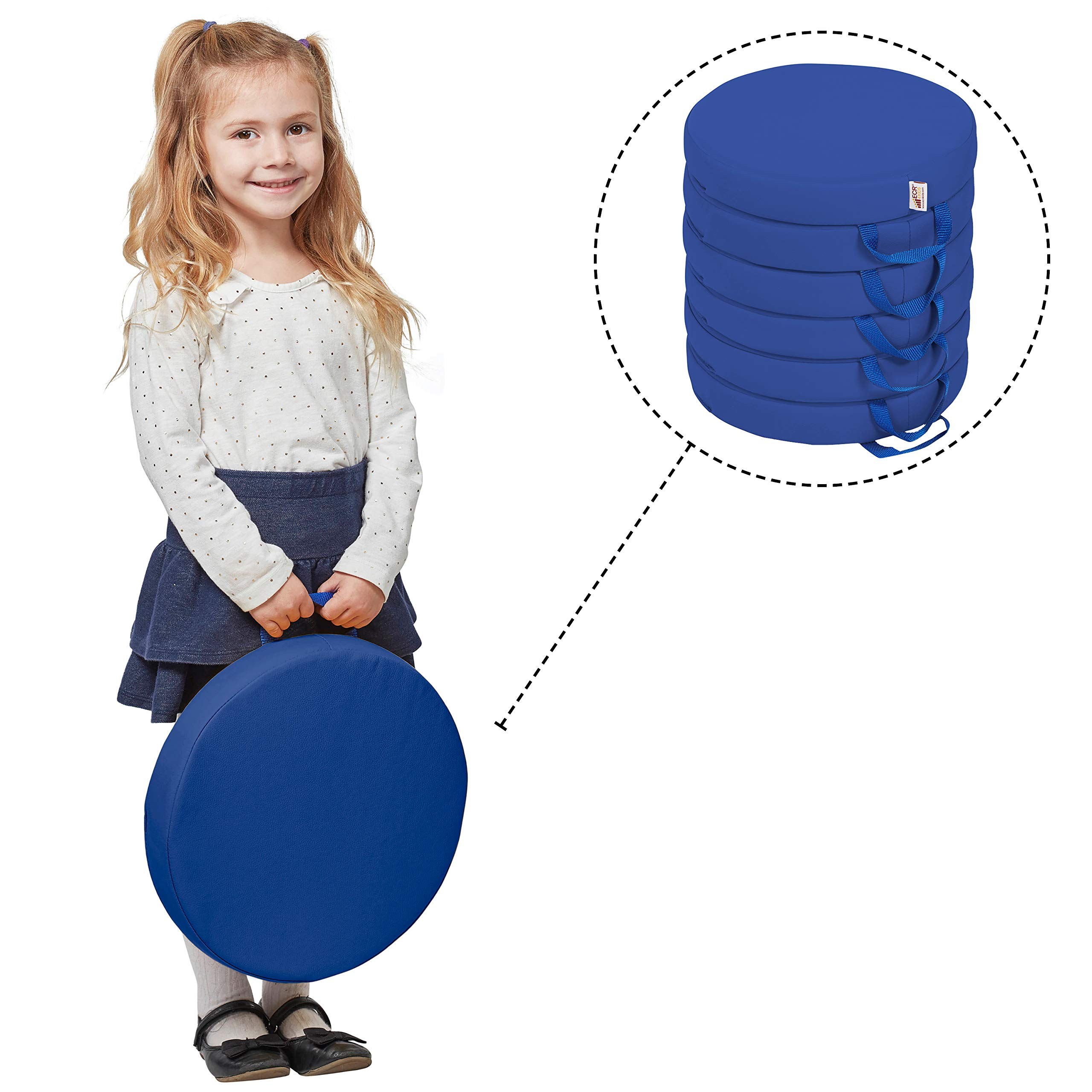 ECR4Kids SoftZone Floor Cushions with Handles, 2'' Deluxe Foam, Round, Blue, (6-Pack)
