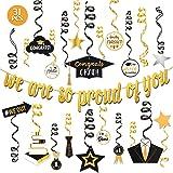 Graduation 2021 Decorations - Gold Glittery Congrats Grad We are So Proud of You Banner, Graduation Party Supplies 31 Pcs, Go