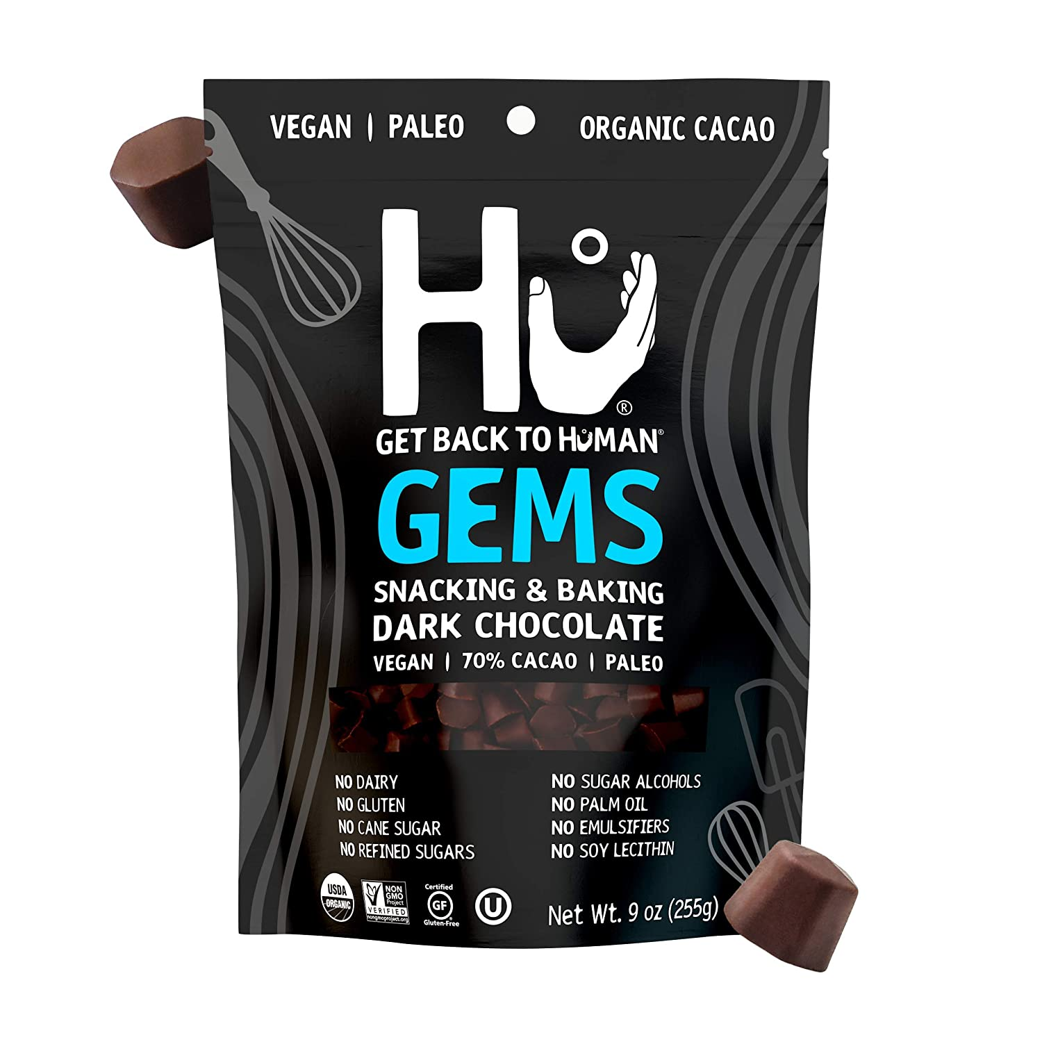Hu Gems Chocolate Vegan Snacks | Organic, Paleo, Gluten Free Dark Chocolate Chips | Baking and Snacking Chips | Plant Based, Non GMO, Kosher | 9oz