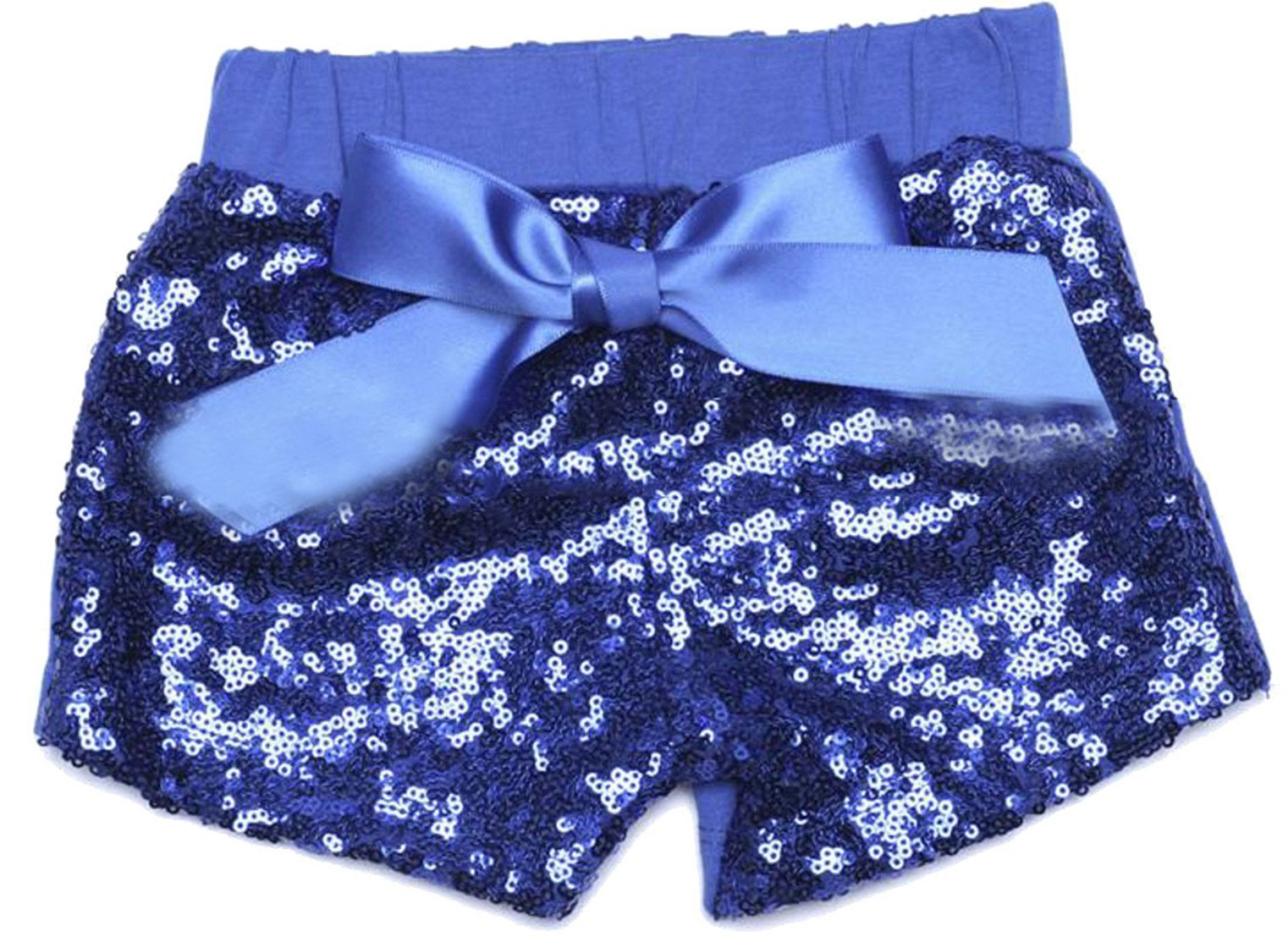 uninukoo-childrens-costumes Unko 3 Pack Girl's Sequins Sports Elastic Waist Bowknot Shorts Jewelry Blue 8T
