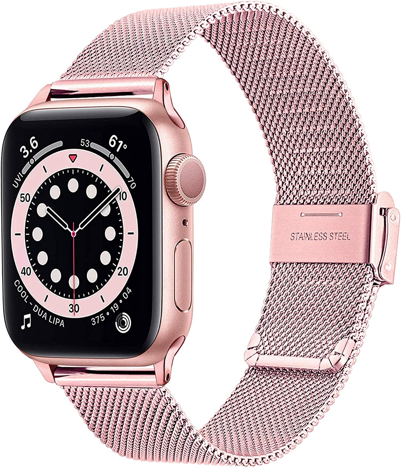 TRUMiRR Pink Gold Band for Apple Watch Series 6 / SE 38mm 40mm Women, Mesh Woven Stainless Steel Watchband Feminine Strap Wristband Replacement for iWatch SE Series 6 5 4 3 2 1
