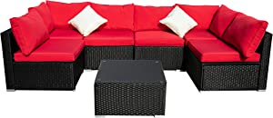 Outdoor Basic Patio Furniture 7-Pieces PE Rattan Wicker Sectional Red Cushioned Sofa Sets with 2 Pillows