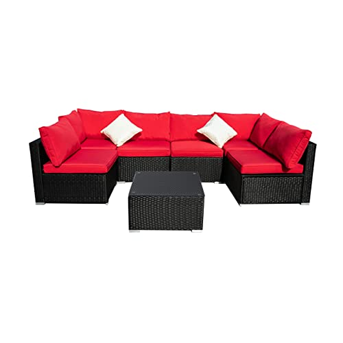 Outdoor Patio Furniture 7-Pieces PE Rattan Wicker Sectional Red Cushioned Sofa Sets with 2 Pillows
