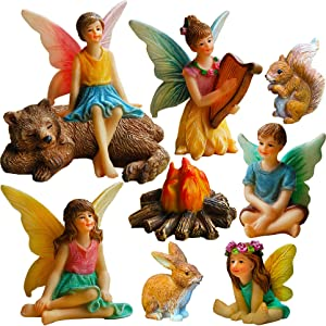 Mood Lab Fairy Garden - Miniature Fairies Figurines Accessories - Camping Kit of 9 pcs - Set for Outdoor or House Decor