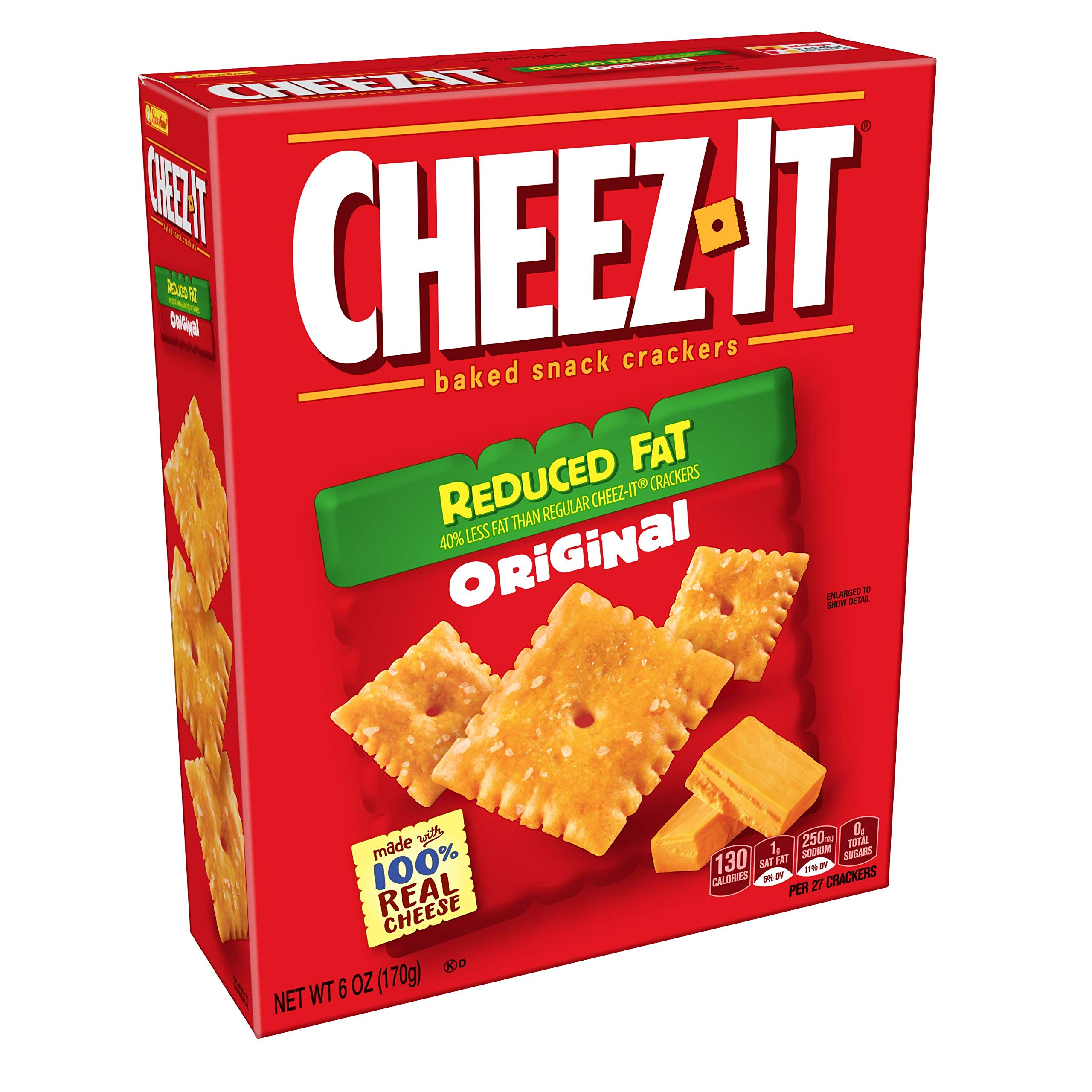 Cheez-It Baked Snack Cheese Crackers, Reduced Fat, Original, 6 oz Box(Pack of 12) by Cheez-It