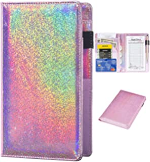 CoBak Server Book Waitress Book Organizer with Zipper Pouch for Restaurant Waitstaff Purple Glitter 5 Large Pockets with Pen Holder