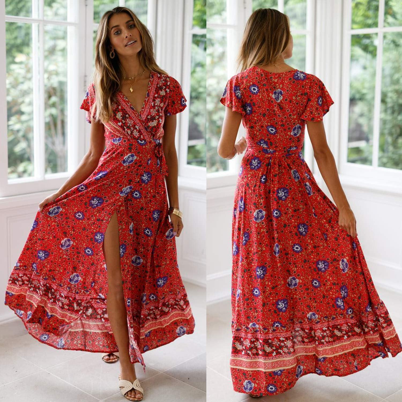 ECOWISH Damen Kleider Boho Sommerkleid V-Ausschnitt Maxikleid Kurzarm Strandkleid Lang mit Schlitz