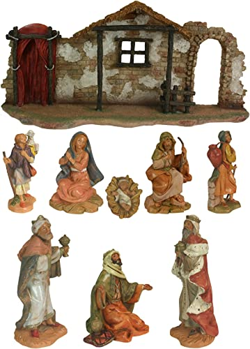 9 Piece Nativity Figure Stable Fa ade Complete Set 54465