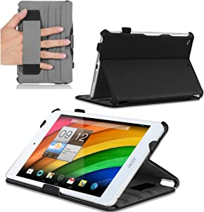 Navitech Black Leather Hard Case/Cover with Automatic Sleep/Wake Compatible with The Acer Iconia A1 830