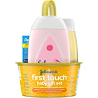 Johnson's First Touch Baby Gift Set, Baby Bath, Skin, & Hair Essential Products, Kit for New Parents with Wash, Shampoo…