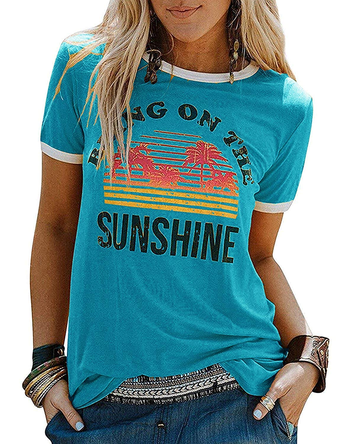 IRISGOD Womens Bring on The Sunshine Cute Graphic Tees Summer Casual Vacation T Shirt Tops