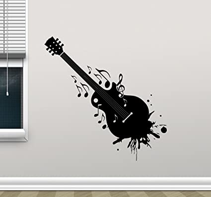Guitar Wall Decal Music Studio Vinyl Sticker Pattern Rock Metal