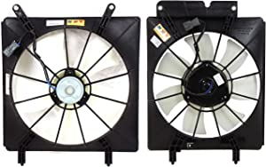 Cooling Fan Assembly Compatible with 2002-2006 Honda CR-V Single fan Includes blade motor and shroud Set of 2 Driver and Passenger Side
