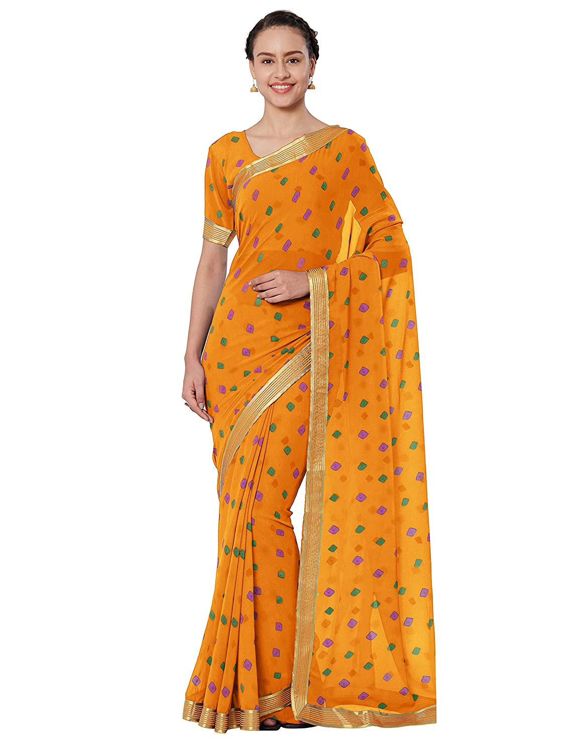 Best Faux Georgette Saree With Blouse Piece Collection