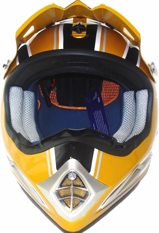 XONE INTERCEPTOR MX MOTO CROSS MOTORBIKE MOTORCYCLE HELMET GOLD SILVER XL EXTRA LARGE J/&S
