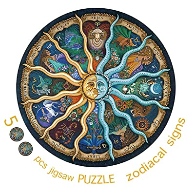 ToExcellent Zodiacal Signs Round Puzzle 500 Piece Jigsaw Puzzle Kids Adult – Constellation Circular Jigsaw Puzzle: Toys & Games