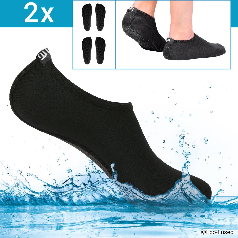 Eco-Fused ウォーターソックス/シューズ レディース – ブラック – 2ペア – エクストラコンフォート – 砂、水、紫外線から保護 – 簡単にフィットする水泳用フットウェア (S) Women - 5-7 Black - 2 Pair B07B69V232