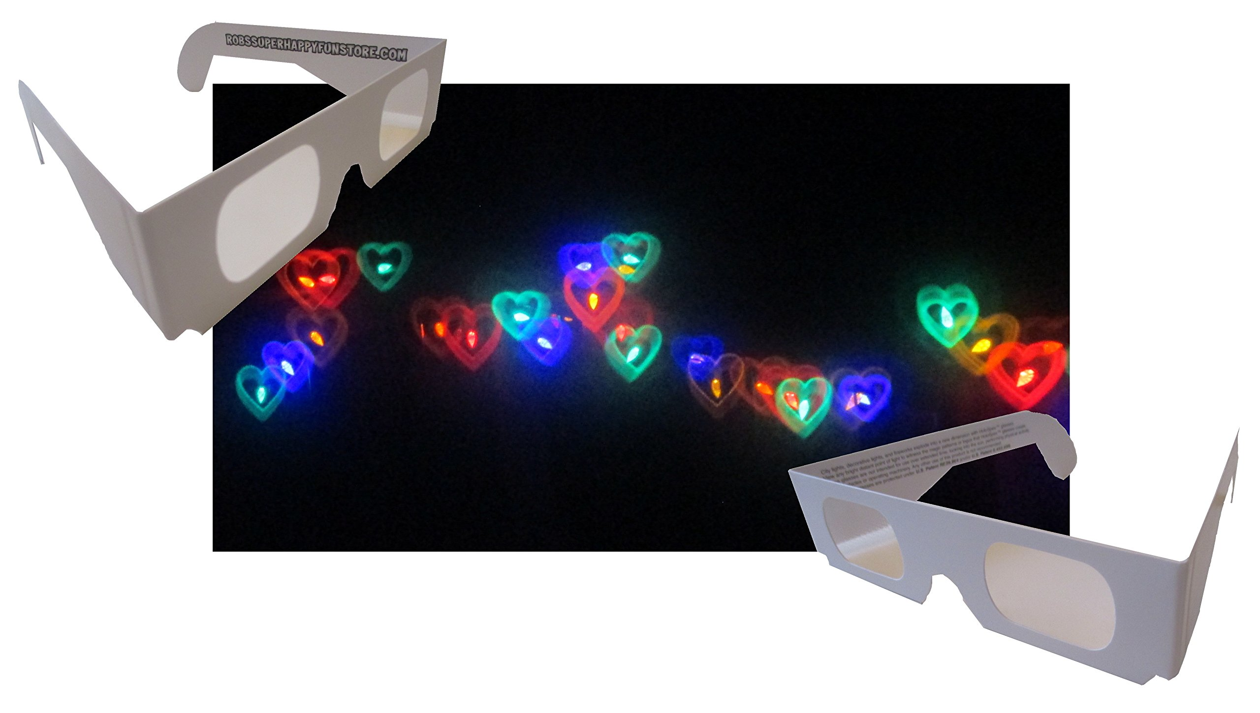 Rob's Super Happy Fun Store Rainbow Hearts Fireworks Diffraction Glasses - 50 Pair - Paper Frames