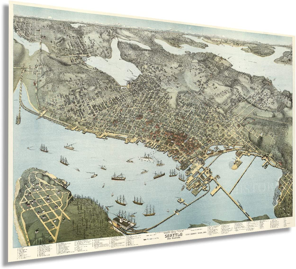 Historix Vintage 1891 Seattle Map Poster - 24 x 36 Inch Vintage Map Wall Art of Seattle King County Washington - Bird's Eye View of Seattle Map Art - Seattle Art Print - Seattle Decor (2 sizes)