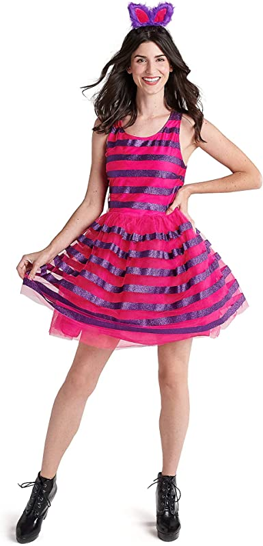 Brand New Alice in Wonderland Cozy Cheshire Cat Dress Adult Costume