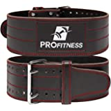 ProFitness Genuine Leather Workout Belt (4 Inches Wide) - Proper Weight Lifting Form - Lower Back Support for Squats…