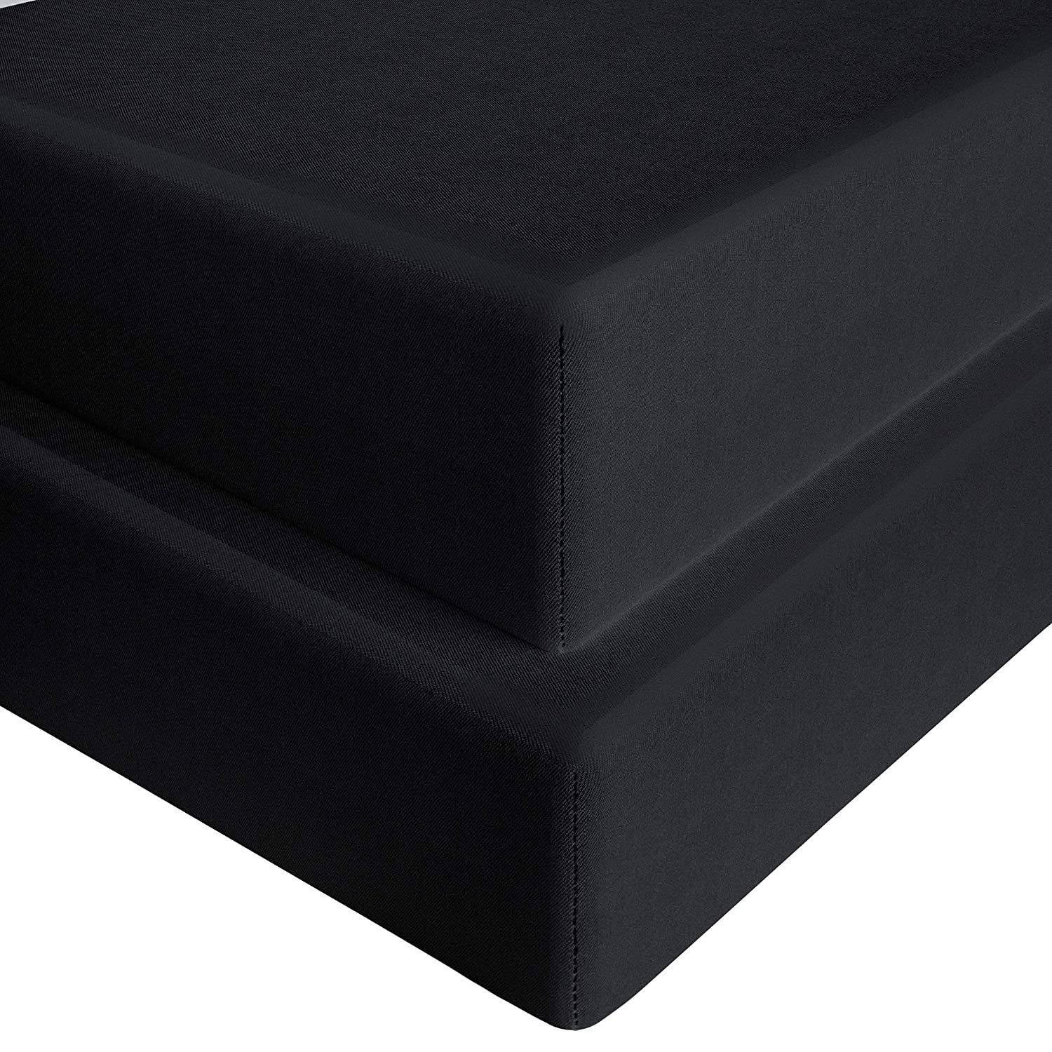 28x 52 FLXXIE Microfiber Toddler Soft Fitted Sheets 2 Pack Breathable Cozy Baby Mattress Crib Sheets for Boys and Girls Black