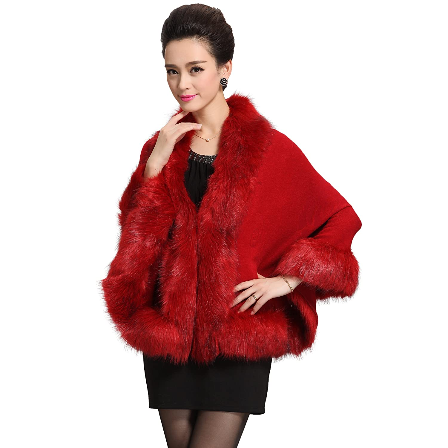 Caracilia Women Luxury Bridal Faux Fur Shawl Wraps Cloak Coat Sweater Cape duanpijian--mi