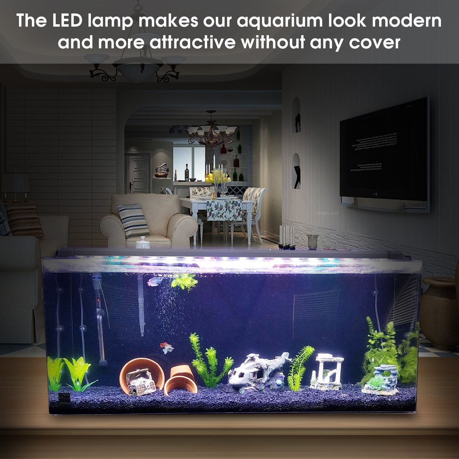 7500K BELLALICHT Éclairage LED pour Aquarium Lampe Rampe 180 LED Aquarium deau Douce RGBW ou Bleu Lumieres 31W LED pour 90-110CM Aquarium