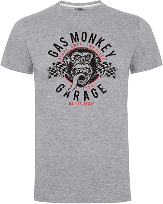 Herren Gas Monkey Garage T Shirt Flags Bekleidung