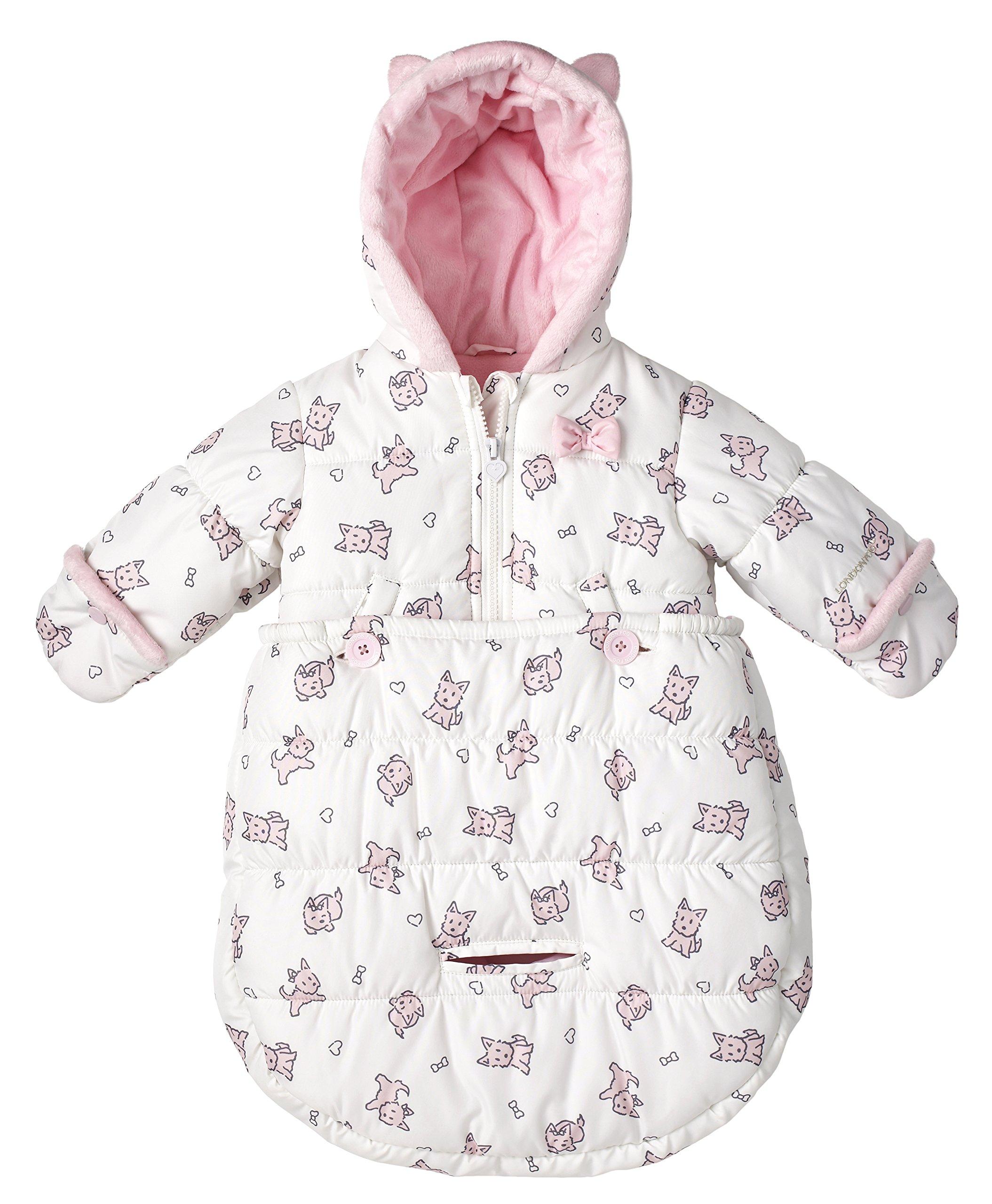 London Fog Newborn Infant Baby Girl Boy Puffer Carbag Pram Bag Snowsuit Bunting - Pink (0/6 Months)