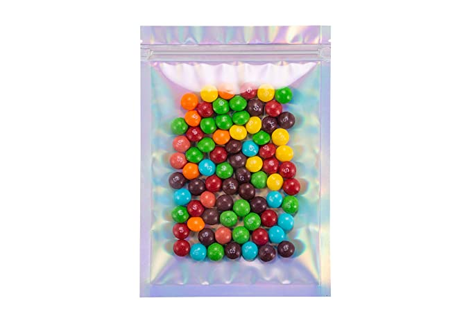 100 Smell Proof Bags 5.5x7.9 Inches Holographic Rainbow Color by Space Seal Mylar Bags Resealable Baggies Heat Seal Bags Food Storage Bags