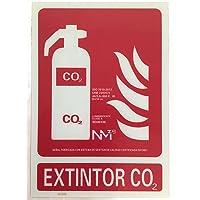 Señal de extintor de CO2 luminiscente clase B.