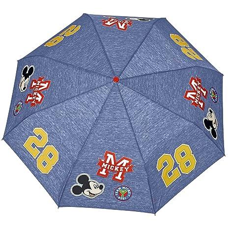 Paraguas Mickey Perletti – Paraguas para niños Plegable – Paraguas para niños de Disney – Apertura