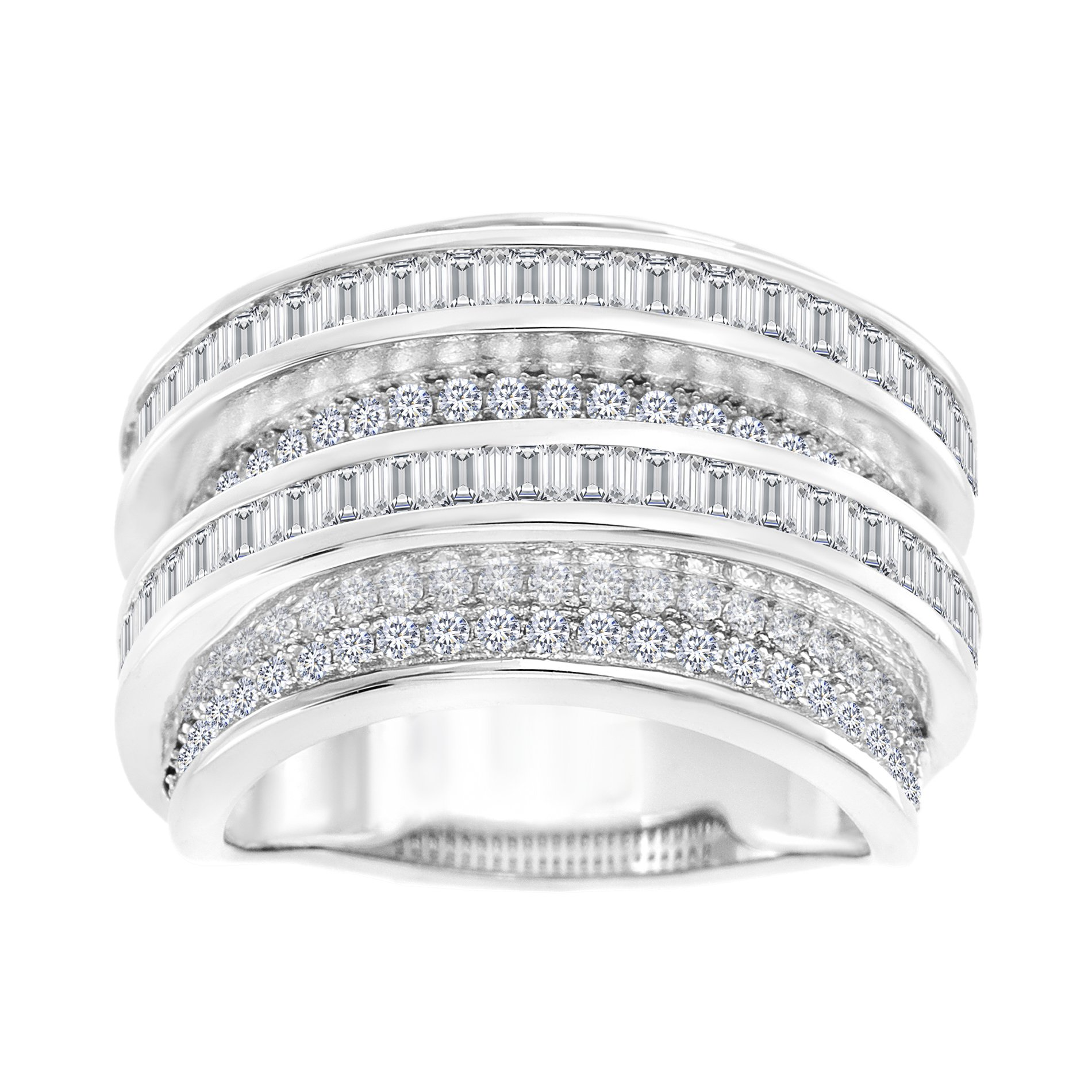Mia Sarine Cubic Zirconia Round Border and Baguette Center Eternity Band in Rhodium over Sterling Silver Size 8