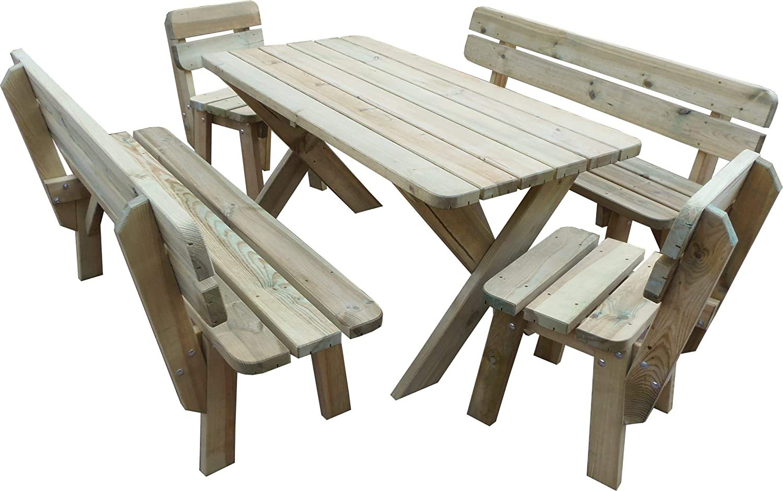 PLATAN ROOM Gartengarnitur Holz Kiefer Sitzgruppe 150 cm breit Gartenbank Gartentisch massiv Imprägniert (Set 2 (Tisch + 2 Bänke + 2 Stühle), 150 cm)