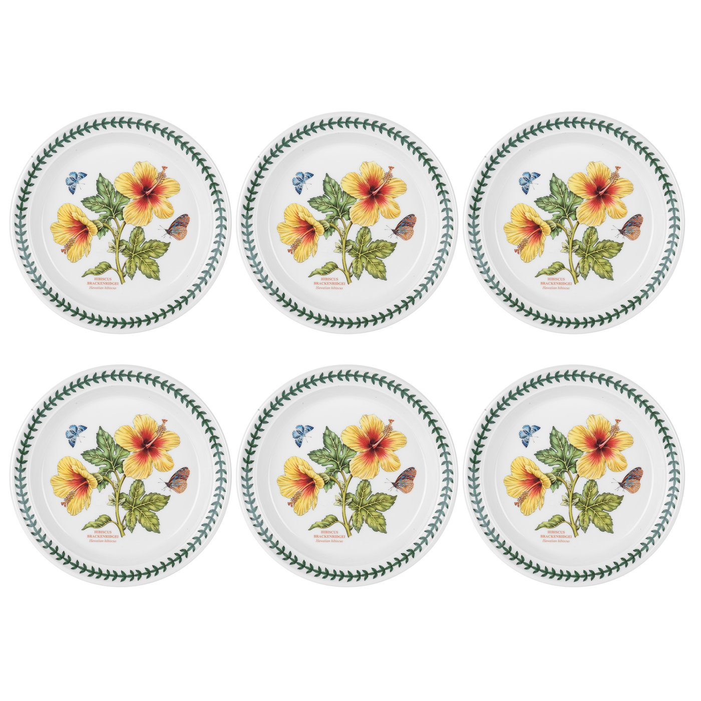 Portmeirion Exotic Botanic Garden Bread and Butter Plate with Hibiscus Motif, Set of 6