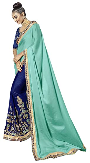 a4f99890635 Simaaya Indian Ethnic Georgette Rama Green and Nevy Blue Half and Half  Saree  Amazon.co.uk  Clothing