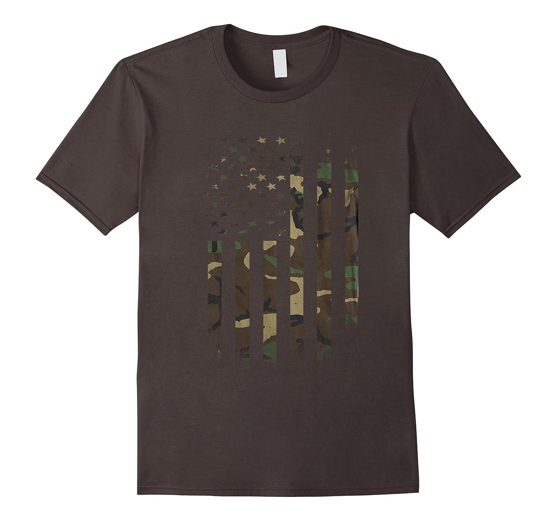 US Army Camo American Flag Tshirt