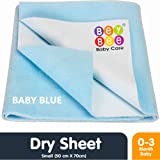 Bey Bee Quick Dry Waterproof Reusable Underpads/Crib Sheet/Bassinet Mat (Small, Blue)
