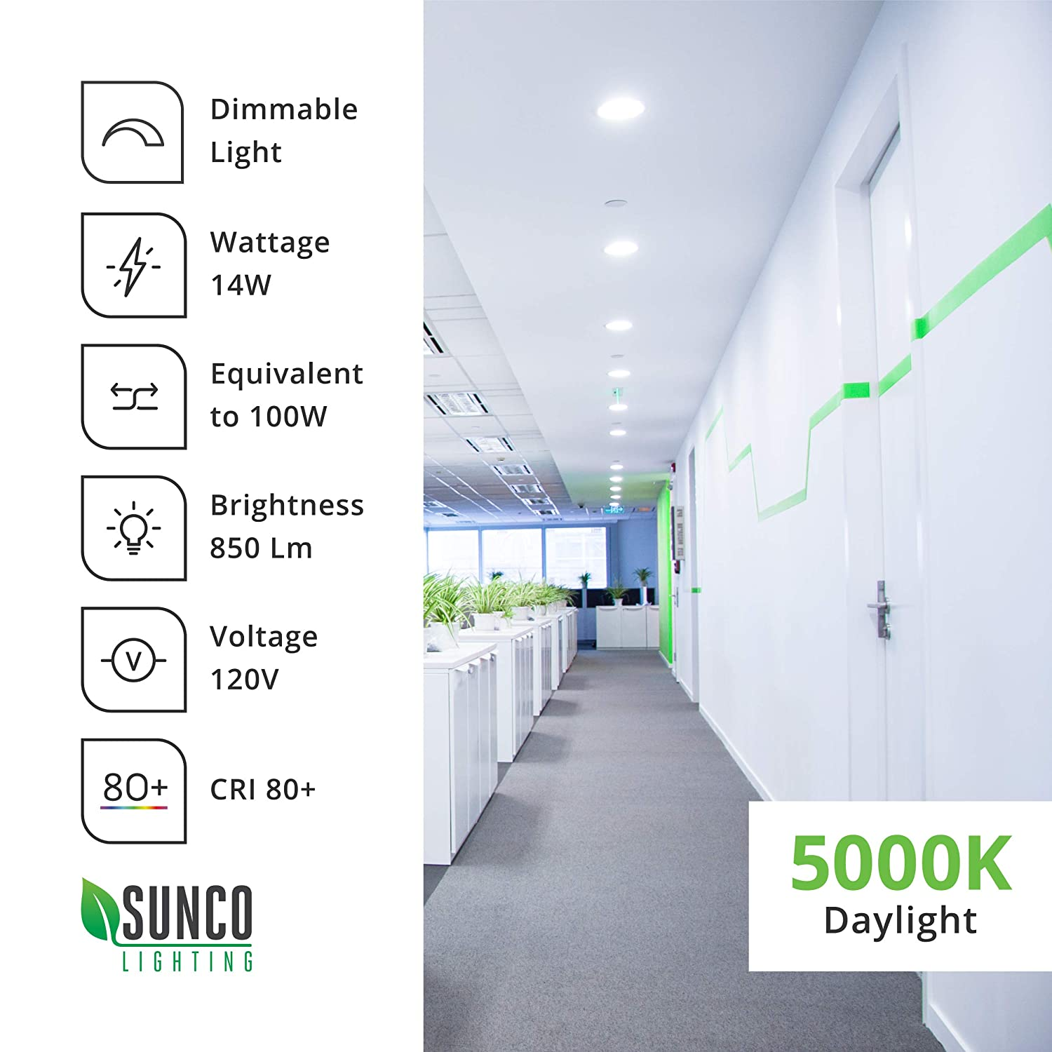ETL /& Energy Star 650 LM Dimmable 2700K Soft White Recessed Jbox Fixture Simple Retrofit Installation Sunco Lighting 12 Pack 4 Inch Slim LED Downlight with Junction Box,10W=60W