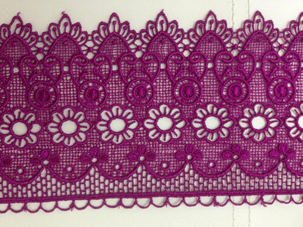 CERISE PINK BEAUTIFUL GUIPURE LACE TRIM EDGING Wedding Border (4'' / 10 CM) 1Yard Mctrimmings