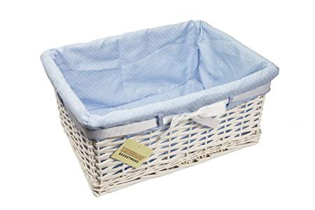 WoodLuv Large Rectangular Willow Wicker Gift Hamper Storage Basket With  Blue Lining And Ribbon, White