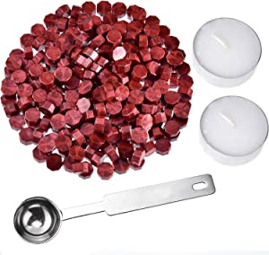Hestya 230 Pieces Octagon Sealing Wax Beads Sticks with 2 Pieces Tea Candles and 1 Piece Wax Melting Spoon for Wax Stamp Sealing (Wine Red)