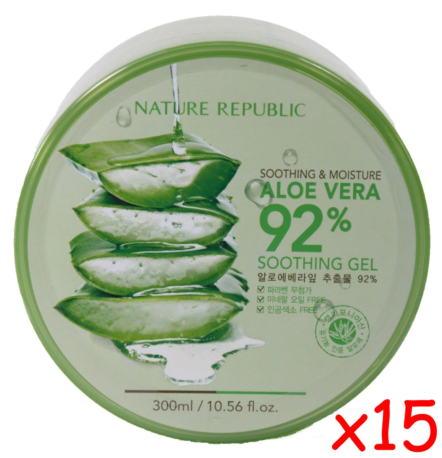 Nature Republic Skin Soothing Moisture Aloe Vera 92% Natural Gel Value Pack of 15