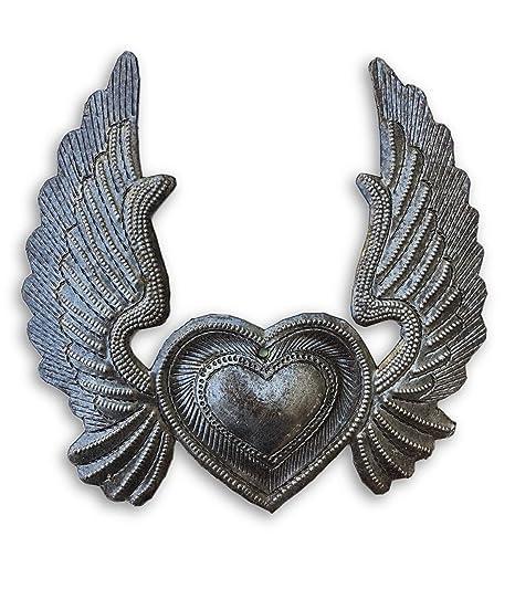 Metal Corazón Con Alas Milagro Corazón En Llamas Flying Heart 5
