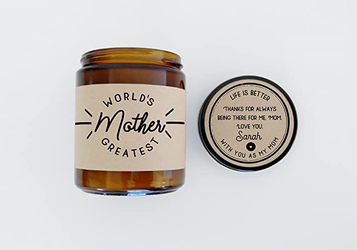 Gift For Mom Worlds Greatest Mother Day Birthday Scented Candle