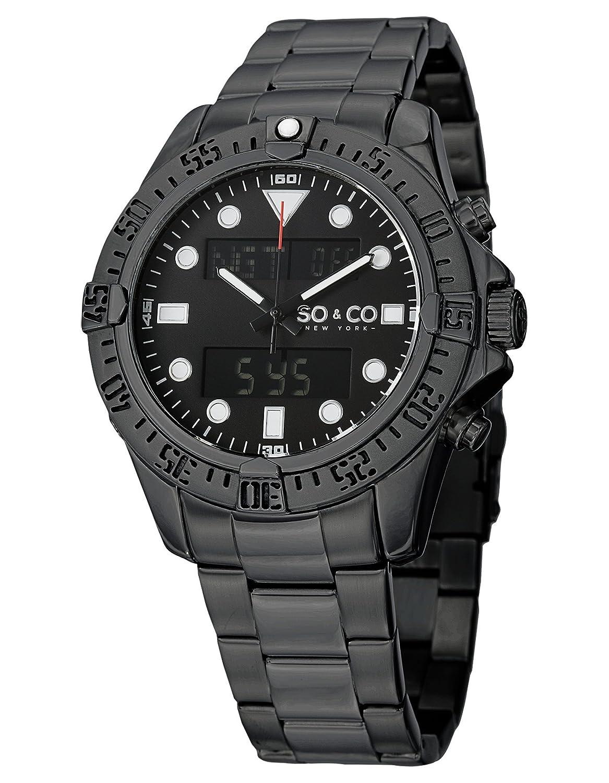 Amazon.com  SO CO New York Men s 5017.3 Yacht Club Analog Digital Alarm  World Time Black Dial Stainless Steel Link Bracelet Watch  Watches 4cf145c39f