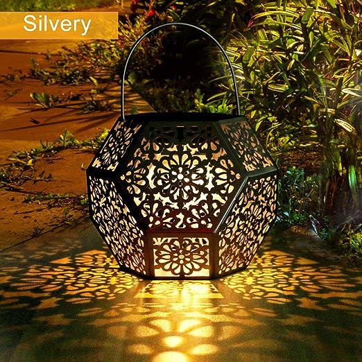 Farol Solar Exterior Jardin GolWof LED Lámpara Solar Jardín Luz Solar Exterio Luces de Linterna Solar Lámpara de Decoración Luces Decorativas para Jardin Terraza Patio Navidad - Plata: Amazon.es: Iluminación