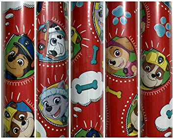 Red Paw Patrol Birthday Gift Wrapping Paper Featuring ChaseMarshallZumaRubble